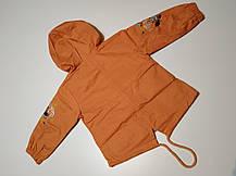Парка ветровка детская н девочку с красивой вышивкой на рукавах 1-4 года оранжевая, фото 2