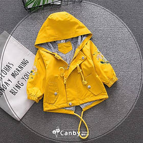 Парка ветровка детская на девочку с красивой вышивкой на рукавах желтая 1-4 года