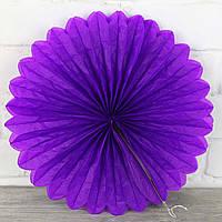 Веер гармошка из папирусной бумаги для декора фиолетовый  диаметр 30 см