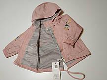 Парка ветровка детская на девочку с красивой вышивкой на рукавах св.розовая 1-4 года, фото 2