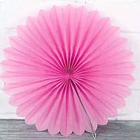 Веер гармошка из папирусной бумаги для декора розовый диаметр 30 см