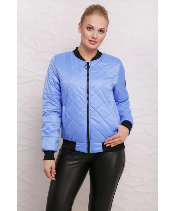 Демисезонная женская куртка бомбер  40-48 голубой