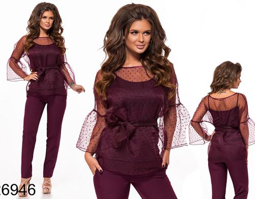0611e0f0224 Красивый брючный костюм тройка (бордовый) 826946 - СТИЛЬНАЯ ДЕВУШКА  интернет магазин модной женской одежды