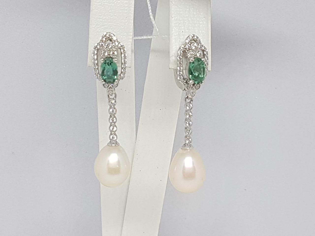 Серебряные серьги ДИОНА с жемчугом и зеленым кварцем. Артикул 2985/9Р-PWTQG