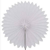 Віяло гармошка з папірусного паперу для декору білий діаметр 40 см
