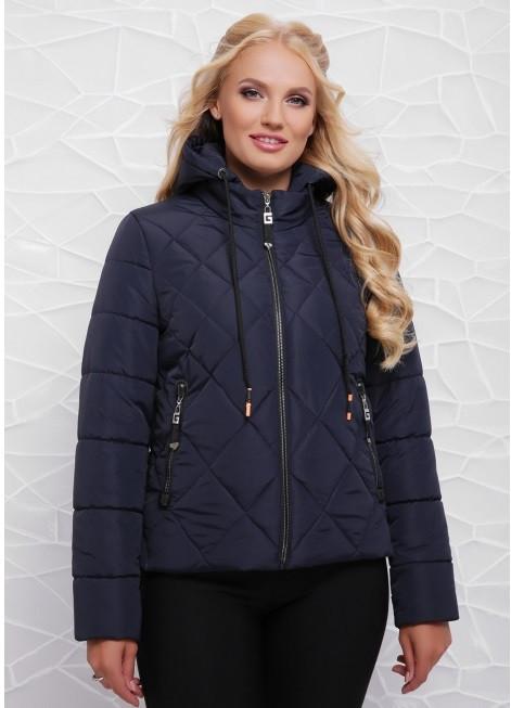 Женская демисезонная  куртка с капюшоном 42-48 синий