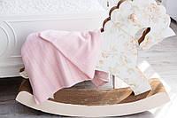 Двухслойный трикотажный  вязаный плед для детской кроватки с хлопковой подкладкой