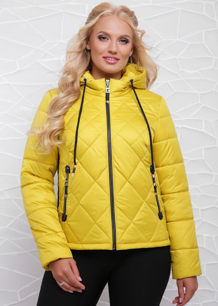 Модная женская демисезонная куртка   42-48 лимонный