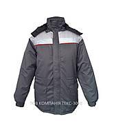 Куртка утепленная «ЛИДЕР» с капюшоном (тк.Грета, синтепон, серая), фото 1