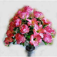 Букет розы с лилией NC-16-73, (6 шт./уп.) Искусственные цветы оптом, фото 1