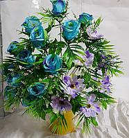 Букет роз с ромашкой NC-16-78, (7 шт./уп.) Искусственные цветы оптом, фото 1