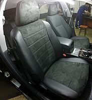 Чехлы на сиденья Фольксваген Т5 (Volkswagen T5) 1+2 (модельные, экокожа+Алькантара, отдельный подголовник)