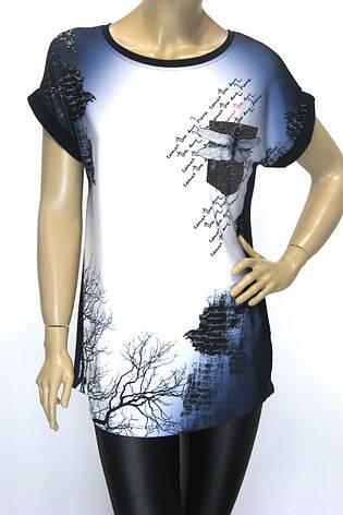 Жіноча подовжена футболка принт стрекоза, фото 2