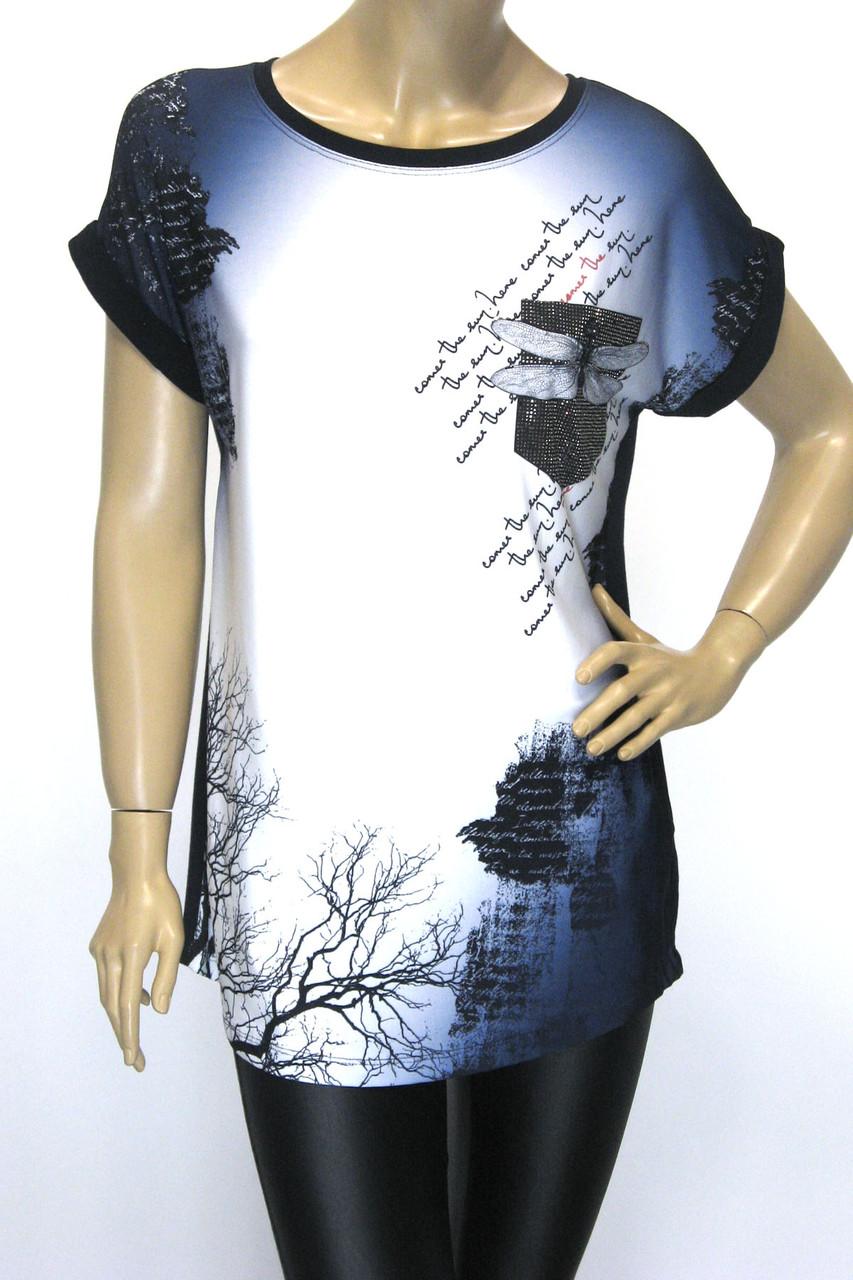 Жіноча подовжена футболка принт стрекоза