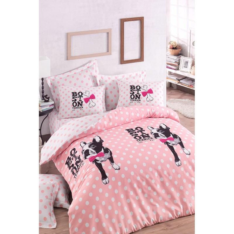 Комплект постельного белья Eponj Home - Boston Pembe из ранфорса евро