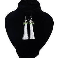 Дизайнерские серьги серебряные кисточки с кристаллами Сваровски