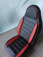 Чехлы на сиденья Рено Меган 2 (Renault Megane 2) (универсальные, кожзам, пилот СПОРТ)