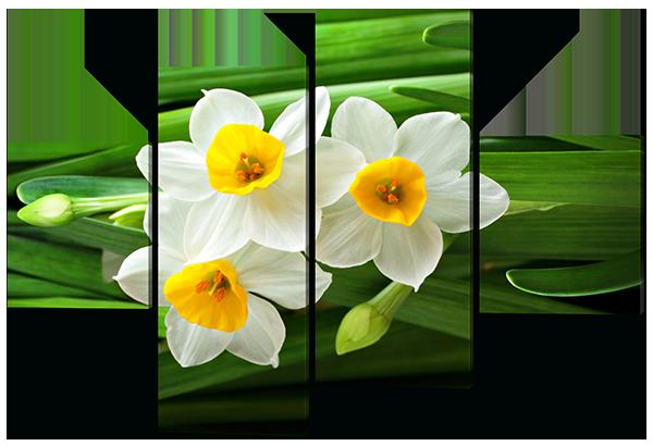 Модульная картина Interno Холст  Белые нарциссы 166х114см (R446XL)