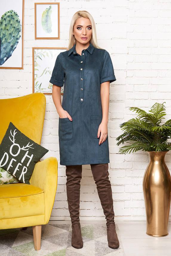 Красивое замшевое платье рубашка изумрудное, фото 2
