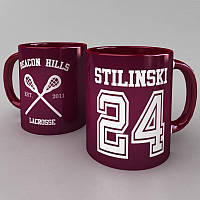 Бордовая чашка Stilinski 24 (Teen Wolf) белый