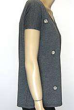Коротка сіра жіноча футболка із стразами, фото 3