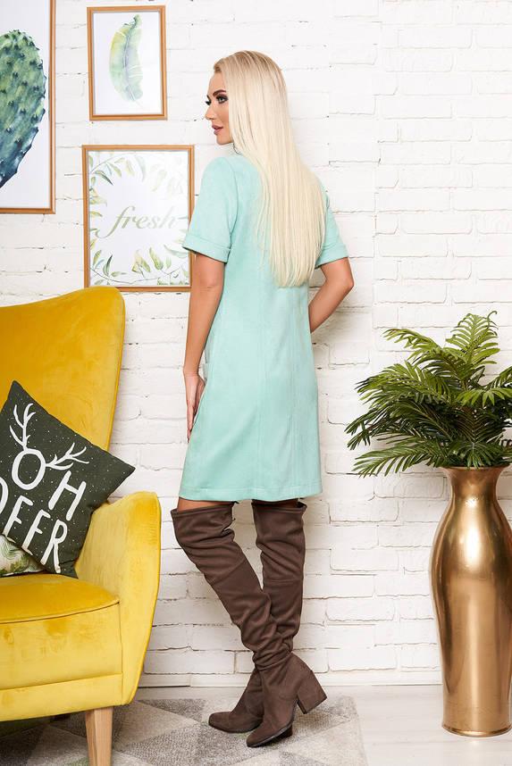 Красивое платье рубашка замшевое мятное с коротким рукавом, фото 2