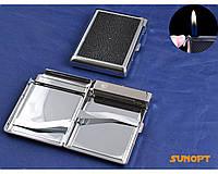 Портсигар с зажигалкой на 20 сигарет (Кожа, обычное пламя) №3308-7