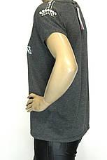 Жіноча коротка сіра футболка прикрашена стразами, фото 2