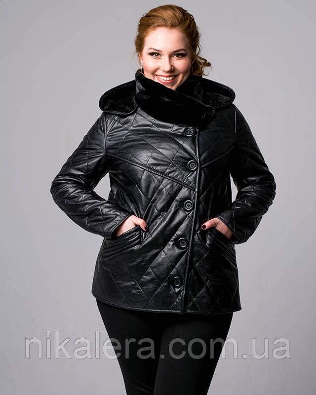 Куртка из эко-кожи утепленная коротко стириженным мехом рр 48-60