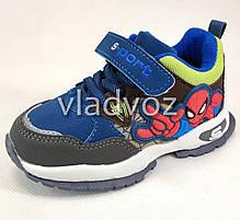 Детские кроссовки для мальчика спайдер мен синий с серым 28р., фото 3