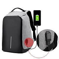 Рюкзак антивор городской для ноутбука c USB-портом для зарядки, серый, фото 1