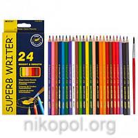 Акварельные карандаши Marco Superb Writer 4120-24CB, 24 цвета с кисточкой