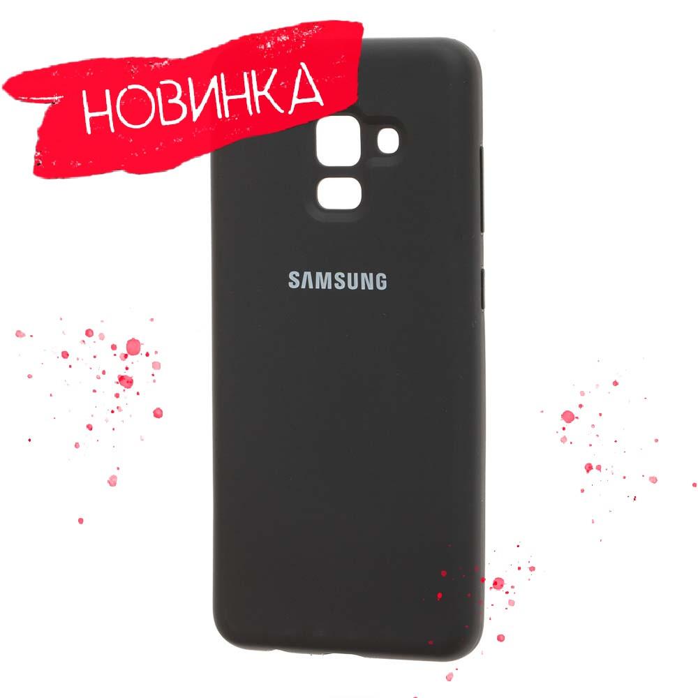 Чёрный/бирюзовый/розовый Чехол Silicone Cover Samsung A8 Plus 2018 A730