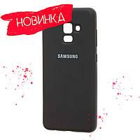 Чёрный/бирюзовый/розовый Чехол Silicone Cover Samsung A8 Plus 2018 A730, фото 1