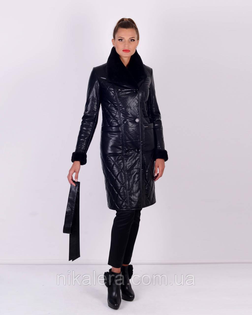 Утепленное пальто из эко-кожи рр 46-58
