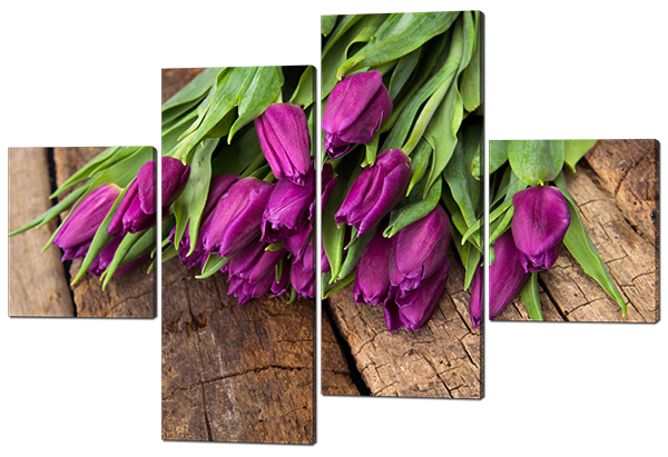 Модульная картина Interno Холст Сиреневые тюльпаны 126х85см (R449М)