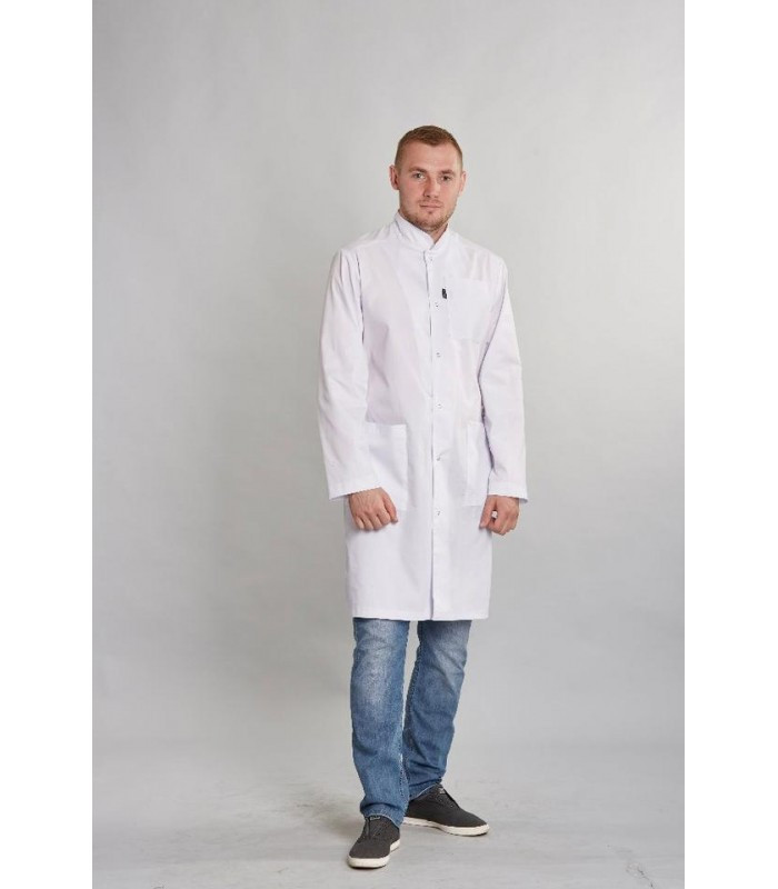 Мужской медицинский белый халат ткань батист 1346 ( 42-54 р-ры )