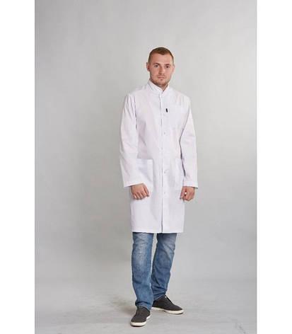 Мужской медицинский белый халат ткань батист 1346 ( 42-54 р-ры ), фото 2
