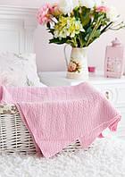 "Розовое вязаное одеяло для новорождённого ""Руан""."