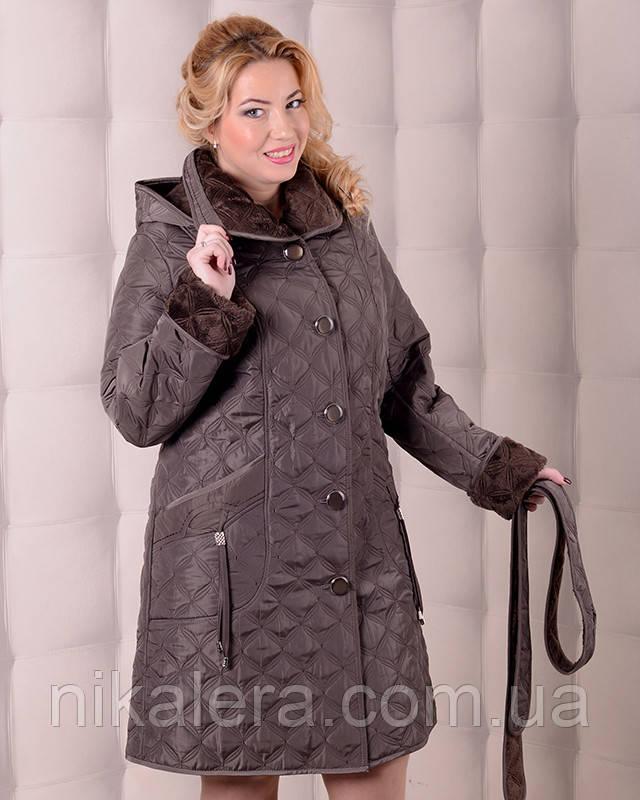 Женский утепленный плащ-куртка вельбо рр 52-60