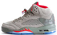 Мужские кроссовки Nike Air Jordan 5 Retro Grey (найк аир джордан 5, серые)