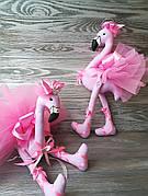 Игрушка розовый фламинго ручная работа hand made