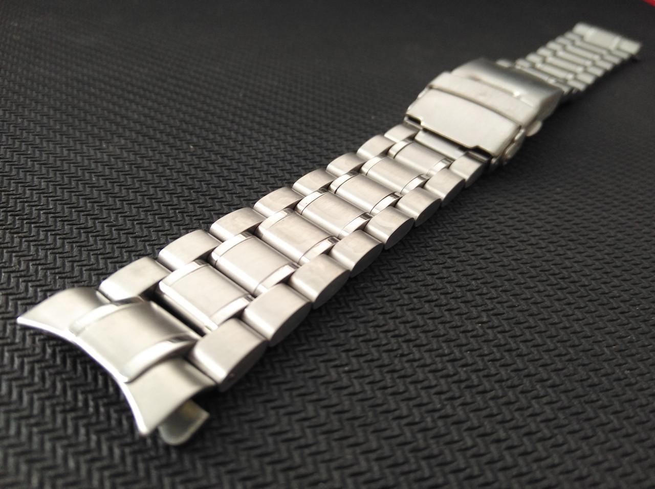 Браслет для часов Casio BEM-501 из нержавеющей стали, литой, глянец/мат. Заокругленное окончание.  20 мм
