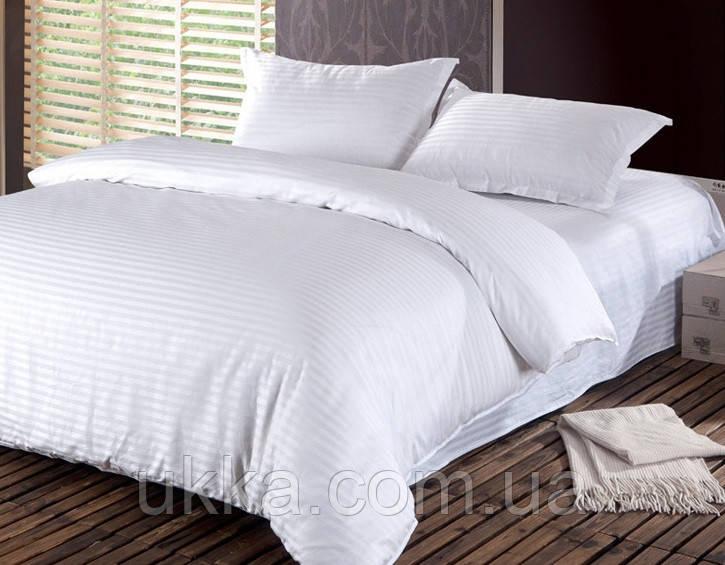 Двуспальное постельное бязь 100% хлопок белое в полоску наволочки 50х70