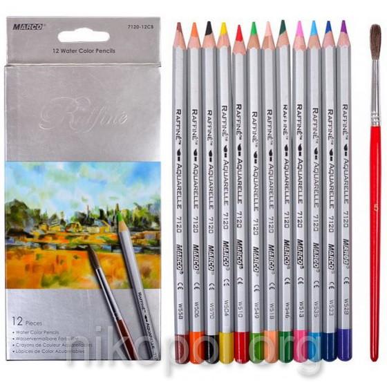 Акварельные карандаши Marco Raffine 7120-12CB, 12 цветов с кисточкой