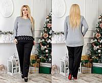 Нарядный женский костюм больших размеров : туника и брюки.