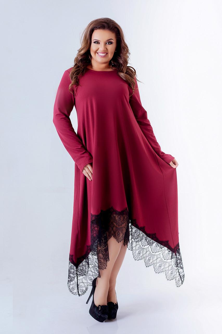 Женское нарядное платье макси Отделка кружево Размер 50 52 54 56 58 60 62 64 В наличии 5 цветов