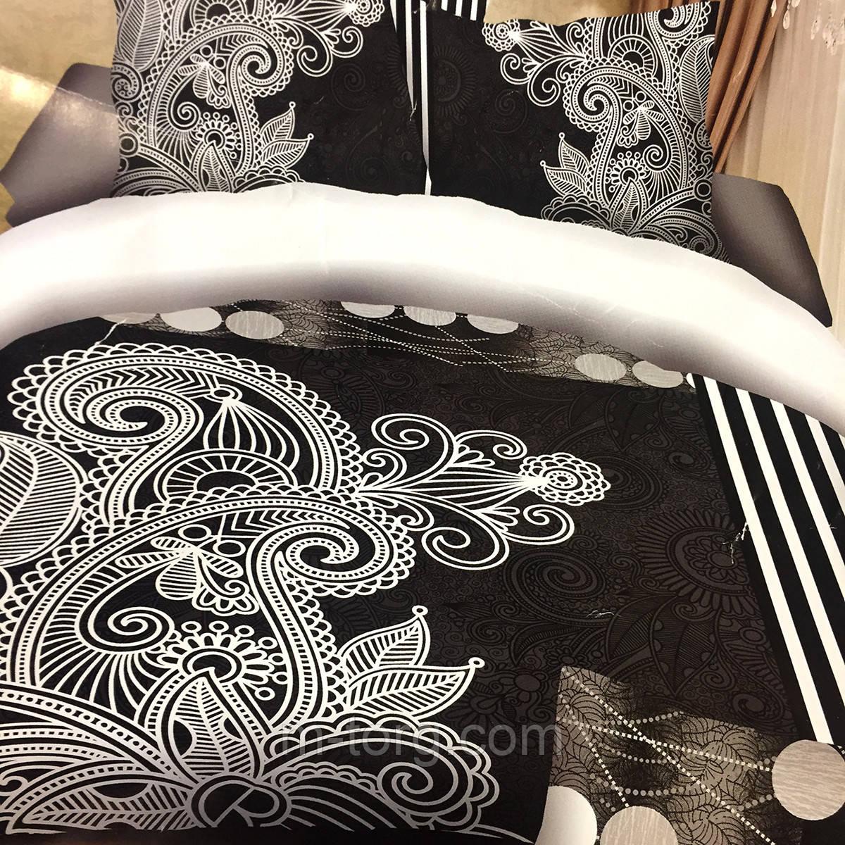 """Постельное белье 3D эффект евро размер 200/230,2 нав-ки:70/70"""" черно-белое"""""""