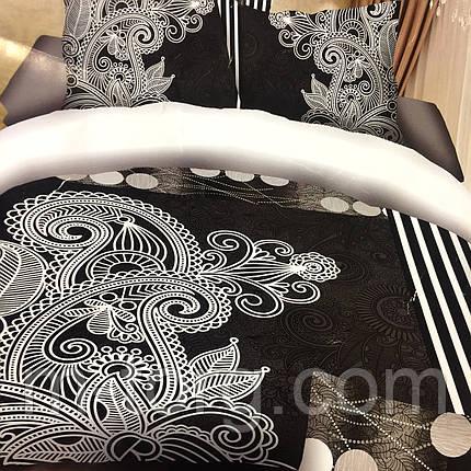 """Постельное белье 3D эффект евро размер 200/230,2 нав-ки:70/70"""" черно-белое"""", фото 2"""