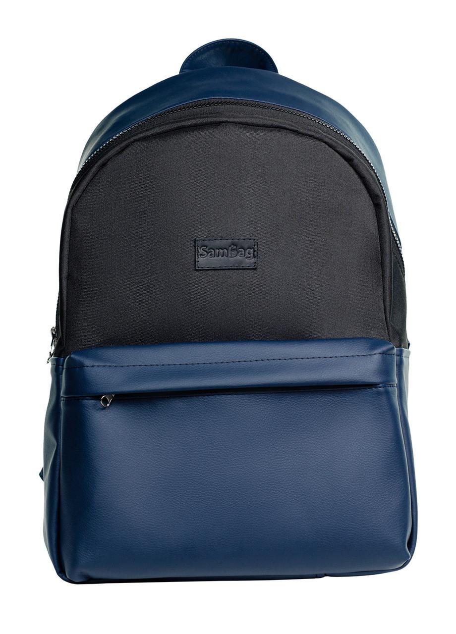 Стильный женский рюкзак черно-синий Самбег SamBag 45х30х17 см.